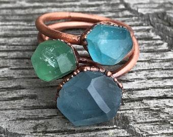 Fluorite ring / Blue fluorite ring / Green fluorite ring / Copper fluorite ring / Gemstone copper ring / Solitaire ring / Gift for her