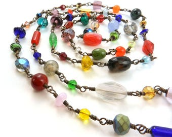 End of Day Necklace, Multicolored Beads, Very Long Beaded Chain Necklace, Handwired Beads