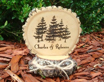 Wedding Cake Topper, Personalized, Engraved, Wood, Rustic, Wood Slices, Cake Top