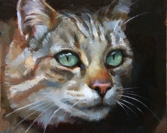 "Tabby in Shadow - original oil painting, cat portrait, 6x6"" oil painting artwork"