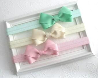 Baby Headband Bow Set ~ Set of 3 Newborn Headbands, Infant Headbands, Baby Girl Headbands, Baby Girl Gift, Baby Bow Headbands