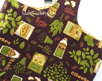 Market Bag Garden Herbs Green Living Brown Bag Fabric Shopping Market Fabric Bag Reusable Washable Sustainable Small Lined Bag