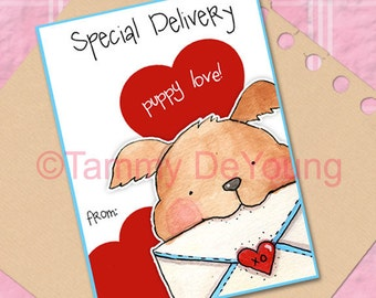 Valentines for kids *Puppy dog Valentine* DIY Printable card for boys, girls, classmates, personalization extra