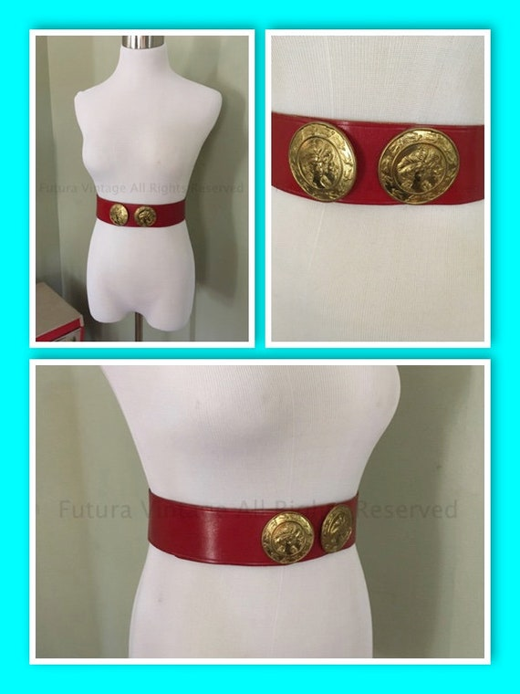 1950s Glamorous CALDRON Red Leather Adjustable Belt Medallion Motif-26 in to 29 in
