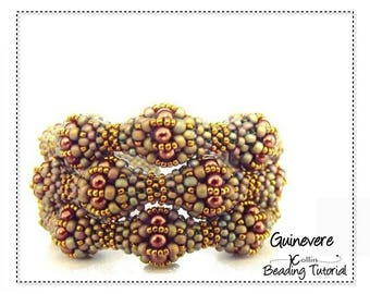 Cubic Right Angle Weave Triple Strand Cuff Beading Pattern with Beaded Balls Beading Instructions DIY Beaded Jewelry Tutorial GUINEVERE CUFF