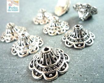 10 large bead caps antique silver, 9X18mm (AP87)