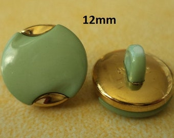 11 Small Buttons Light green 12 mm (5175) button Golden Gold