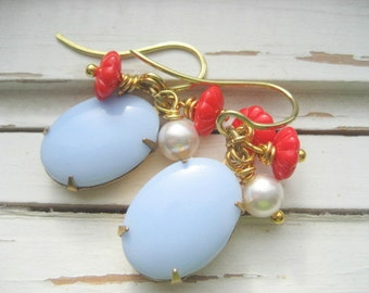 Stockholm Earrings, 14k Gold Ear Wires, dangle, Ice Blue Vintage Cab Aqua Glass Flower Pearl gift for her under 30