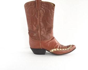 Tony Lama Black Label Western Boots, Vintage Tony Lama Cowboy Boots Size 8