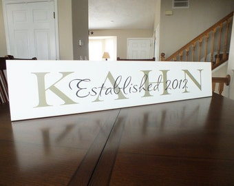 """Personalized Family Name Sign Established Custom Last Name Sign 7""""x36"""""""