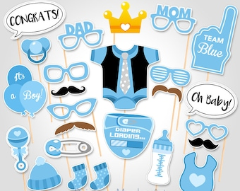 Baby Shower Photo Booth Props - Printable Photo Booth Props - It's a Boy Photobooth Props - Blue Baby Shower Printable Party Props