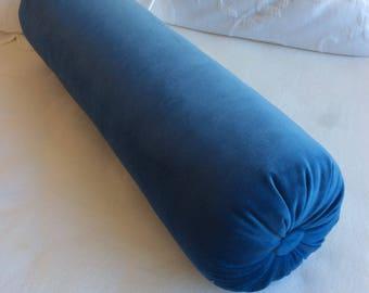 Indigo blue VELVET decorative Bolster Pillow 6x22