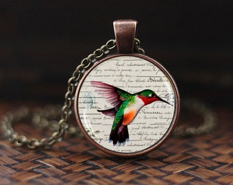 Humming Bird Necklace, Humming Bird Pendant, Humming Bird Jewelry, Nature Jewelry, Humming Bird Gift, Bird Necklace, Victorian Birds Pendant