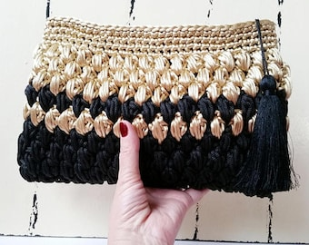 Crochet Party Bag Metallic Clutch Bag Black and Gold Gift for Mom Fashion Bags Gift for Her Crochet Clutch Bag Crochet Purse Wedding Bags