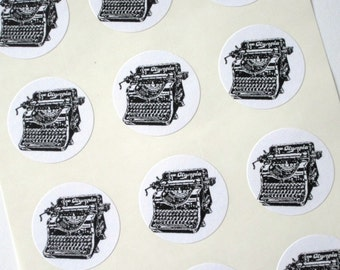 Vintage Typewriter Stickers One Inch Round Seals