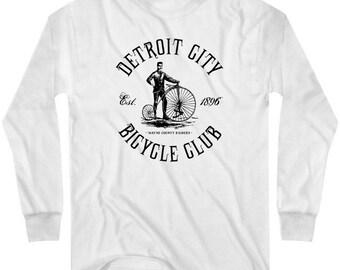 LS Detroit Cycling T-shirt - Long Sleeve Tee - Motor City Bicycle Club - Men and Kids - S M L XL 2x 3x 4x - 3 Colors