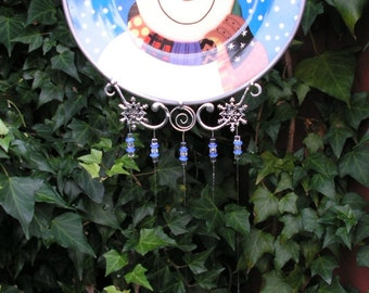 Adorable Frosty the Snowman, Sparkling Cut Glass Chimes, Handmade Sun Catcher, Wind Chime