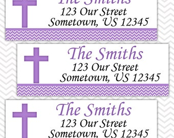 Cross Purple Baptism Christening First Holy Communion  - Personalized Address labels, Stickers
