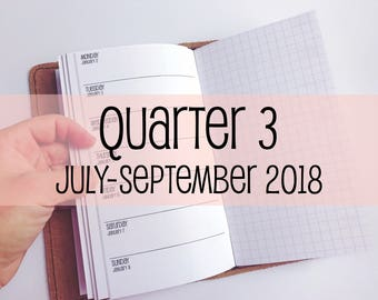 Traveler's Notebook PERSONAL Size Week on One Page with Grid {Q3   July-September 2018} #700-23