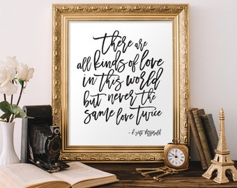 F. Scott Fitzgerald Quote | There Are All Kinds of Love | Printable Digital Art | Office Decor | Home Decor