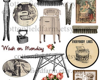 Vintage Laundry Wash Day Clip Art C-321 for Scrapbooking, Journals, Altered Art, Decoupage Personal and Commercial Use