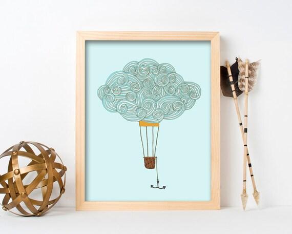 "framed wall art, framed art prints, large framed art, large framed wall art, cloud art, wall art prints, colorful - ""Cloud Balloon No. 2"""