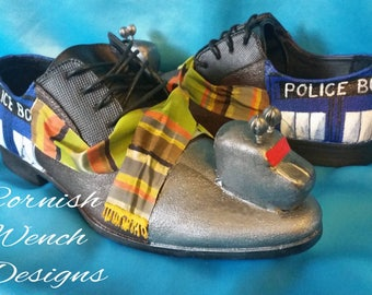 Custom made Dr. Who Inspired Men's Brogue Style, 'THE DR' Tardis, Dalek