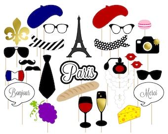 Printable Paris Photo Booth Props . Paris . Parisian . France . French . Instant Download