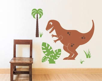 T-Rex Dinosaur Wall Decal Tyrannosaurus Rex Kids Dino Wall Art Baby Nursery Room Theme Prehistoric Decor (LARGE SIZE)