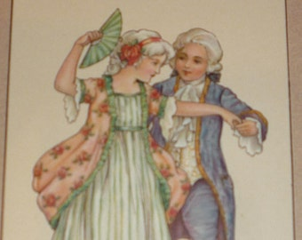 Dancing Children In Regency Style Clothing A/S Florence Hardy Antique Postcard