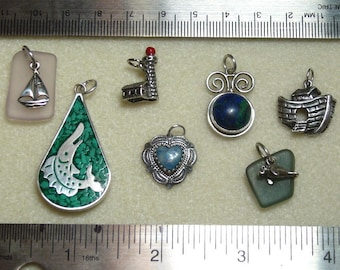 SALE - Sterling Silver Destash - pendants, charms - blues, greens - sterling supplies - SS495