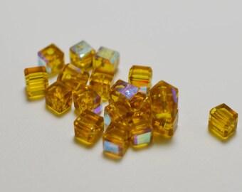 Czech crystal cubes, Gold AB, 4mm - #2540