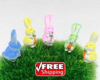 5 Terrarium Mini cute Rabbit Stake Miniature Dollhouse Fairy Garden Free ship