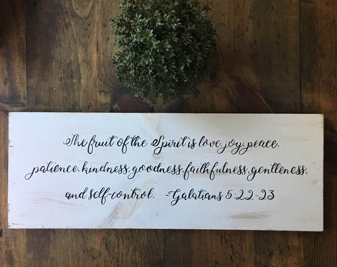 Hand Painted Wooden Sign with Scripture The Fruit of the Spirit Galations 5:22-23