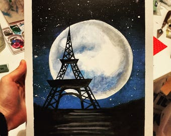 Eiffel Tower Moon Acrylic Painting