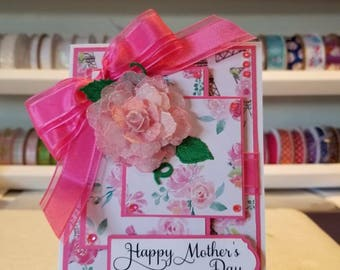 Beautiful pink and elegant  Mothers Day card.