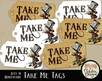 Alice in Wonderland Tags - Vintage Alice Tags Printable Sheet - Wonderland Party, Birthday Party Gift Tags, Birthday Tags, Take Me Tags