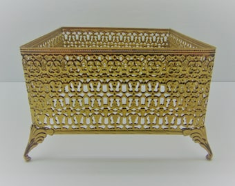 Vintage  Filigree Tissue Box Holder, Gold Filigree Footed Kleenex Box Holder