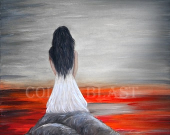 Waiting- Romantic Painting print. Black white and red decor. Free ship inside US. Figurative painting print. Lady waiting, seascape, sunset.