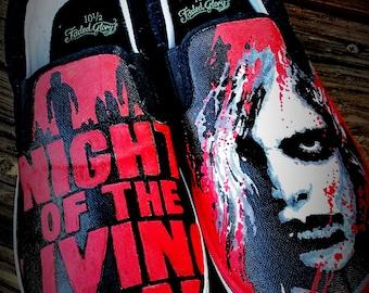 """Handmade """"night of the living dead"""" slipons"""