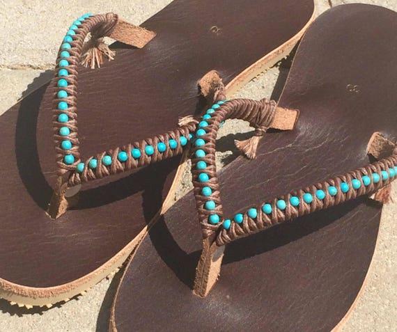 Beaded Sandals Leather Leather Boho Boho Sandals Shoes Sandals Flops Sandals Shoes Sandals Flip Summer Women Greek Turquoise Sandals w6wzgBq