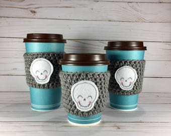 Scary Cute Skull Coffee Cozy, crochet coffee cozy, crochet cup cozy, crochet mug cozy, Halloween coffee cozy