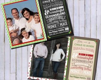 Religious Photo Christmas Card | Religious Christmas Card | Rustic or Chalkboard Christmas Card | Photo Holiday Card  {L16}