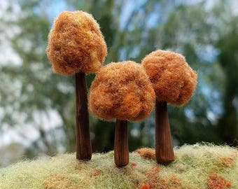 Autumn Tree Pack Set of (3)  - Miniature Trees, Playscapes For Grown-Ups, MADE TO ORDER Pin Toppers Decorative Sewing Pins