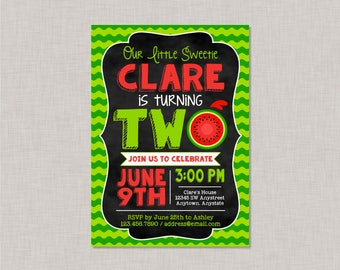 Watermelon Invitation, Watermelon Party, Watermelon Birthday, Watermelon Second Birthday Invitation, 2nd Birthday Invitation, Little Sweetie