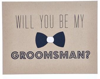 Black Bowtie Groomsman Card ~ Best Man Card ~ Will You Be My Groomsman Card