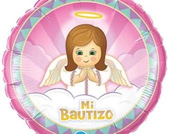 18 inch Qualatex Mi Bautizo Angel Girl Foil Balloon