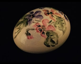 Set of 4 Vintage Hand Painted Porcelain Eggs with Flowers