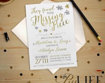 Adoption Invitation | Gold Foil Found their Missing Piece Adoption Party Baby Shower Invitation Printable DIY No. I232