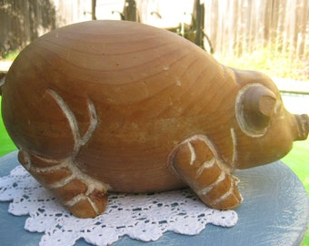 Adorable Italian Piggy, that is a chip off the old Block hahaha, Solid Wood Block, Handcarved.